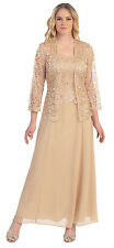 Wedding Event Dress /Jacket Mother of Bride/Groom Long Formal Gown Bridesmaids