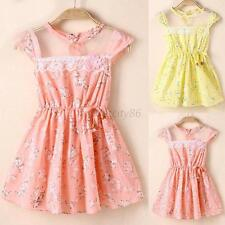 1-5Y Baby Kid Girl Cute Lace Floral Tunic Princess Dress One-Piece Party Dresses