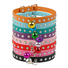 8 Colors Rhinestone Shine Puppy Dog Cat PU Leather Collar With Bell