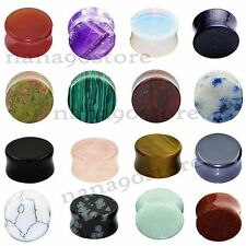 """Pair Organic Stone Ear Gauges Ear Tunnel Plugs Double Flared Expanders 2g-5/8"""""""