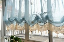 French Country White Balloon Shade Pull Up Austrian Cafe Kitchen Curtain