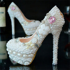 Handmade Pearl White Pink Wedding Ball Club Shoe High Heels Evening Party O