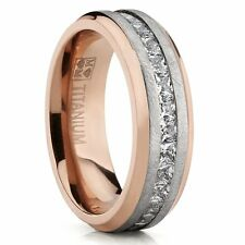 Rose Plated Brushed Titanium Wedding Ring Eternity Band with Channel Set Prince