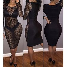 Sexy Women Black Sheer Lace Bodycon Evening Party Cocktail Mini Dress Clubwear