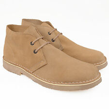 Mens Boys New Camel Suede Leather Casual Fashion 2 Eyelet Desert Boots 3-15