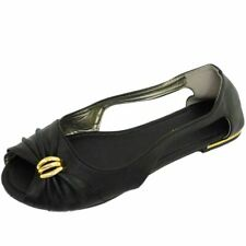 WOMENS FLAT BLACK OPEN-TOE SLIP-ON PUMPS DOLLY SUMMER SANDALS SHOES SIZE 3-7