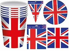 Union Jack Party ware British Flag Commonwealth Cups Plates Napkins Bunting GB