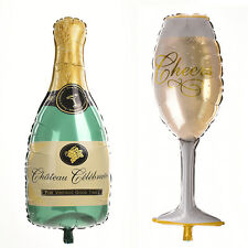 1X Champagne Bottle Glass Foil Balloons Happy Birthday & Wedding Party Decor 3C
