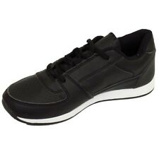 WOMENS GIRLS CASUAL BLACK GYM SPORTS FASHION TRAINERS SHOES PUMPS SIZE 3-8
