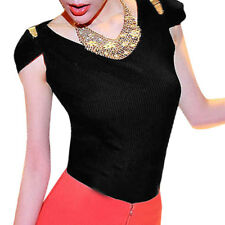 Woman Metal Decor Shoulder Scoop Neck Pullover Tunic Top Shirt