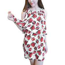 Ladies Pullover Round Neck Cut Out Shoulder Floral Print Layered Casual Dress