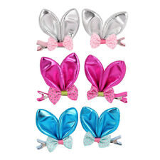 2 Pcs Nylon Sparkly Rabbit Ear Bowknot Decorated Hair Clip for Girl
