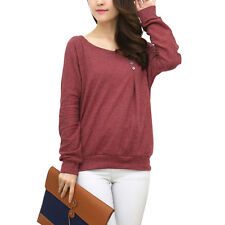 Women Round Neck Long Sleeves Button Decor Pullover Casual Tops