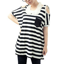 Ladies Pullover Scoop Neck Short Sleeve Bar Striped Long Shirt