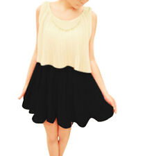 Lady Scoop Neck Sleeveless Pleated Fake Pearl Chain Decor Dress