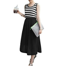 Ladies Sleeveless Scoop Neck Unlined Stripes Casual Dress