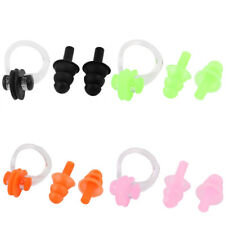 Pair Soft Silicone Swimming Set Nose Clip Ear Plug Earplug w Case