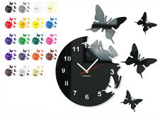 Modern  wall clock BUTTERFLY CIRCULAR, 15 colours available, Silent/No Ticking