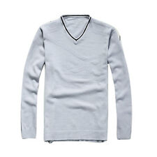 Mens Stylish Knit V-neck Casual Tops Autumn Sweater