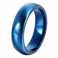 6mm Tungsten Ring Royal Blue Plated Top Polished Comfort Fit Domed Couple Rings