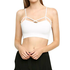 Women Spaghetti Strap Padded Bust Cropped Stretchy Crossover Strappy Cami Top