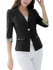 Women Peaked Lapel One Button Front Blazer Jacket
