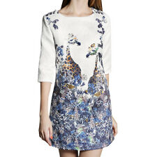 Women Crew Neck Elbow Sleeve Floral Giraffe Prints Embossed Sheath Dress