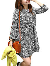 Women Long Sleeves Stand Collar Floral Tunic Dress
