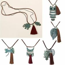 Summer Retro Owl Heart Feather Tassels Pendant Necklace Leather Sweater Chain