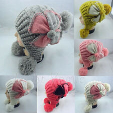 New Warm Winter Women Lady Flower Knit Ski Beanie Baggy Ball Ski Hat Cap 34