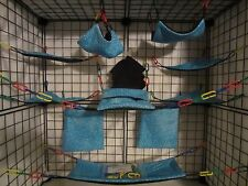 15 pc Bedding - Sugar Glider Cage Set - Rat toys - Blue Hearts
