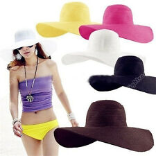 Women Girl Floppy Cap Wide Large Brim Summer Folding Beach Straw Sun Hat New 58
