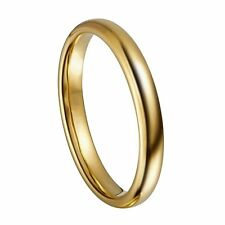 Gold Classic Tungsten Ring 3mm Classic Wedding Rings Band Comfort Fit