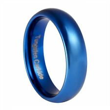 Blue Tungsten Carbide 6mm Polished Traditional Wedding Band Ring