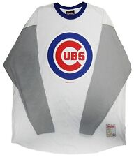 Chicago Cubs MLB Mens Big Logo Long Sleeve Raglan Shirt White Big Sizes