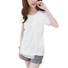 Ladies Pullover Round Neck Short Sleeve Layered Beads Casual Blouse