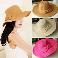 New Arrival Womens Girls Straw Cap Bowknot Wide Large Brim Summer Beach Sun Hat