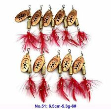 Lot 10pcs Spoon Metal Fishing Lures Bass Spinner Baits Tackles Hooks Brand New