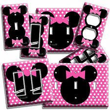 MINNIE MOUSE EARS PINK POLKA DOTS GIRLS BEDROOM LIGHT SWITCH OUTLET WALL PLATE