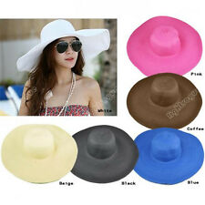 Women Lady Girl Floppy Wide Large Brim Summer Folding Beach Straw Sun Hat 0058
