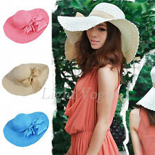 Fashion Womens Lady Summer Beach  Straw Wide Large Brim Ribbon Bow Cap Sun Hat
