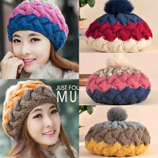 New Womens Lady Knit Wool Crochet Ski Hats Winter Braided Warm Beanie Ball Cap