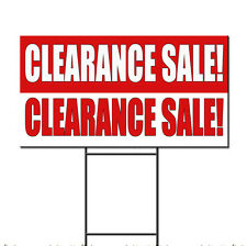 Clearance Sale! Clearance Sale Red White Plastic Yard Sign /FREE Stakes