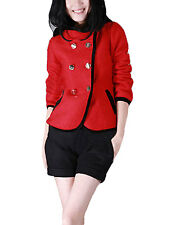 Women Double Breasted Bracelet Sleeve Stretchy Hooded Coat