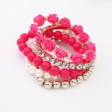 Fashion Mix Flower Bead Stretch Bracelet Alloy Resin Rhinestone Bangle Gif Pop