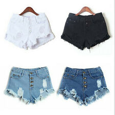 New Women High Waist Tassel Hole Shorts Jeans Denim Slim Casual Short Pants P72