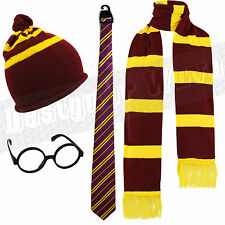 Mens Womens Kids Harry Potter Gryffindor Fancy Dress Hogwarts Glasses Scarf Hat
