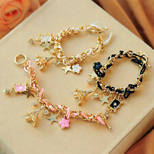 Chic Eiffel Tower Star Flower Leather Crystal Chains Bangle Bracelet Jewelry