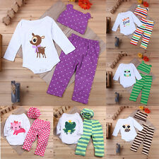 Infant Kids Rompers Baby Toddler Bodysuits Outfits Pants Trousers Tops Hat 3PCS
