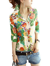 Lady Point Collar 3/4 Sleeve Button Closure Floral Prints Semi Sheer Shirt